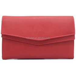 Trendy Style Red Genuine Leather Hand Crafted Stylish Women's Wallet