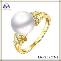 Gold Ring Desiigns For Girls Pearl Ring For Women Brass Metal Yellow Gold Plating Jewelry