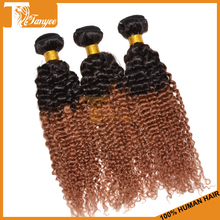 Grade 7A Hot Sale Ombre Hair Extensions, Brazilian Remy 1B/30 Afro Jerry Curl Hair Weave Jerry Curl Hairstyles For Black Women