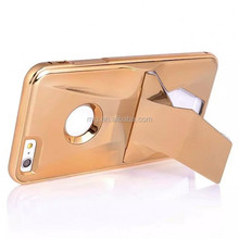 Metal frame shockproof phone case for iphone 6 6s/ strong hard metal aluminum phone cover with stand/ plating procedures shell