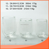 Clear double wall glass cup with silicon coat and lid in three specifications