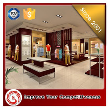 Most popular clothing shop interior design Customized wooden clothes retail shop display rack/clothes store interior design