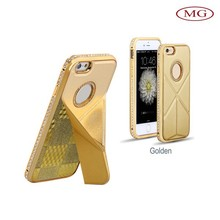 wholesale luxury bling crystal mental fram PU back cover case for iphone 6&plus