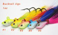 China factory price 1oz bucktail jigs lead head jigs low MOQ bucktail jigs baits