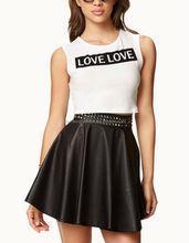 CHEFON Love love print cute ladies white crop top CB0748