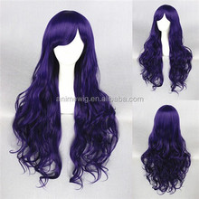 High Quality 80cm Long Curly Dark Purple Synthetic Anime Lolita Wig Cosplay Costume Fashion Hair Wig Party Wig