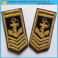 China supplier embroidery shoulder epaulet/hand embroidery custom epaulets for uniform/hand embroidery badges