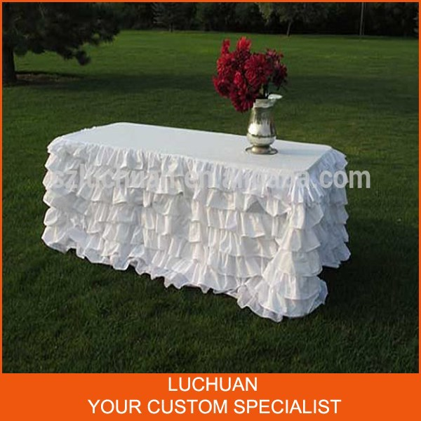 New Fancy Outdoor Wedding Banquet Rectangle White Tablecloth