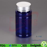 175ml clear blue pet pill bottle, pharmaceutical plastic storage container, round plastic tablets bottle factory