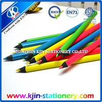 2015 high quality hexagonal fluorescent pencil with one color logo sharpening