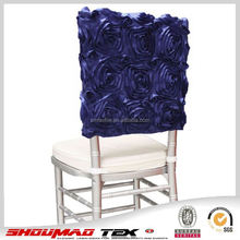 luxury satin rosette chair cover for wedding chair decoration