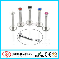316L Surgical Steel Internal Threading Labret with Flat Jewel ball Magnetic Lip Piercing