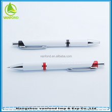 2015 hot selling logo printed promotional plastic push action ballpoint pen