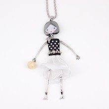 Newei Fashion Dressed Girl Women Figure Acrylic Alloy Pendant Spring Summer 2015 New Jewelry Statement Doll Necklace