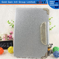 For iPad mini 2 Luxury Wallet Flip Magnetic Glitter Coated Bling Rhienstones Diamonds Leather Case Cover (Silver)