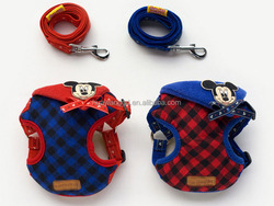 2015 newest grid cloth harness vest for dog and cat