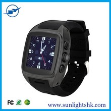 Dual Core 1.2GHZ android 4.2 3G smart watch mobile phone Support WIFI GPS 3G WCDMA GSM 5.0M camera watch phone (black)