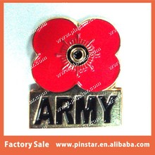 High Quality Custom Made Soft Enamel Gold Tone Army Poppy Pin Badge