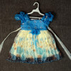Blue organza dress for girl 3 years printed with beading