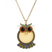 New Style Crystal Owl Necklace Lovely Acrylic Necklace