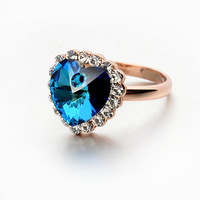 Blue Crystal Finger Rings With Heart Shape, heart of ocean sapphire ring