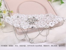 Luxury Lace with Clear Crystal Princess Wedding Party Tiara Women Bridal Lace Hairwear