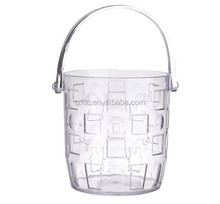 High quality home hotel Pub style leather covered plastic ice bucket & tongs