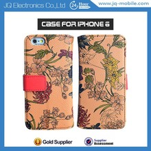 Mobile phone accessoreis flower style pu leather case with card solt for iphone 6 4.7