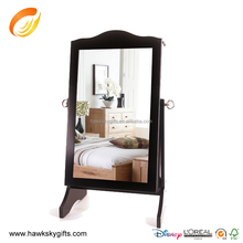 Hot sale mirrored jewelry armoire with two door left side with shelf wooden mirror jewelry cabinet