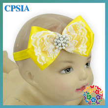Cute Pattern Yellow Double Big Bow Headband Hair Accessories for Little Girls