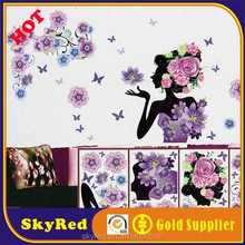 Romantic purple flower and woman wholesale coffee shop wall sticker