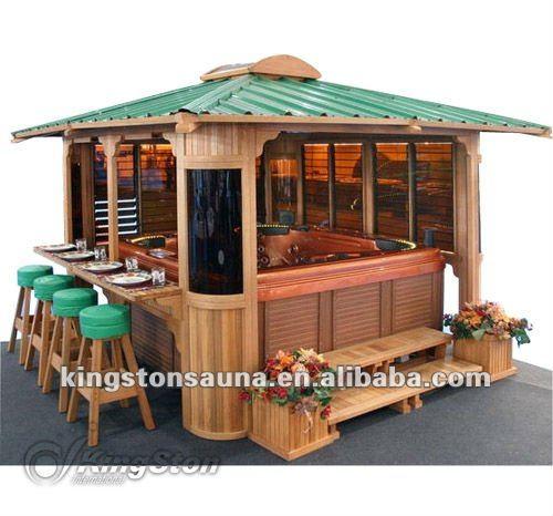 Luxe jardin en bois du pavillon spa bar gazebo kgt g11 belv d re id du prod - Bar de jardin en bois ...