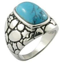 hot sale in Europe stainless steel new design mosaic turquoise ring