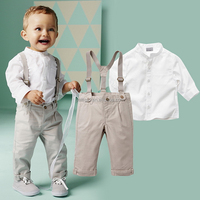 England White shirt + Suspender pants 1 Year Old Baby Clothes Wholesale Clothing Market