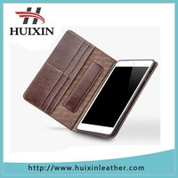 High quality genuine leather smart wake up tablet pc case for ipad mini