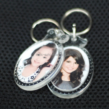Custom round clear acrylic photo keychain factory manufacturing