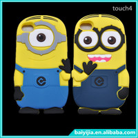 3d cartoon case for iPod Touch 4 Cover minions soft rubber
