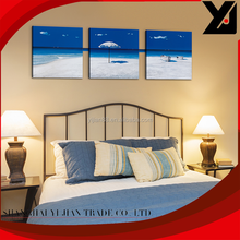 3D lifelike beach view modern canvas arts craft decoration invisible wooden frame wall abstract oil painting on canvas