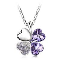 Elegent Fashion Gold Infinity Necklace,Four Leaf Clover Design For Women