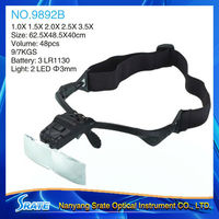 NO.9892B LED magnifier with 5 acrylic lens and changeable headband and legs