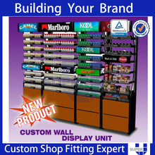 retail store cigarette display rack with shelving
