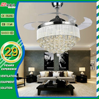 42 inch hidden blade remote control ceiling fan with led light