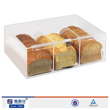 OEM cheap clear acrylic candy an bread box with hinged lid