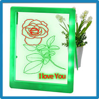 18.0*22.5cm diy usage erasable kids magic led drawing board with safe ABS frame