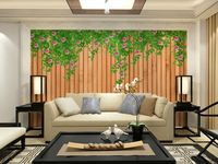 wholesale Eco-friendy 3d mural spring flowers out of bamboo wall background of sofa tv wallpaper murals