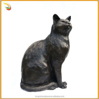 Folk Art Casting Bronze Cat Sculpture Antique Brass Animal Garden Cat Statue
