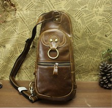 Luxury Vintage Casual 100% Top Genuine Oil Wax Leather Cowhide Men Chest Shoulder Messenger Cross Body Bag Bags For Men