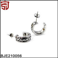 Circle Shaped Men Stainless Steel Jewelry Stud Hoop Fashion Earring