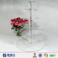 Customized High Clear Acrylic Cake Display Shelf ,5 Tier Crystal Acrylic Round Cake Cupcake Stand
