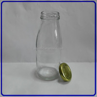 250ml empty square body and round bottom new glass milk bottles with screw cap